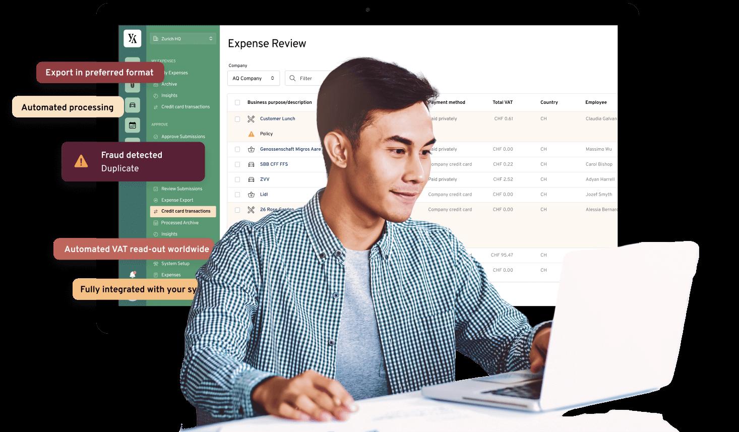 Image of Accountant using Yokoy / Darstellung eines Buchhalters, der Yokoy nutzt