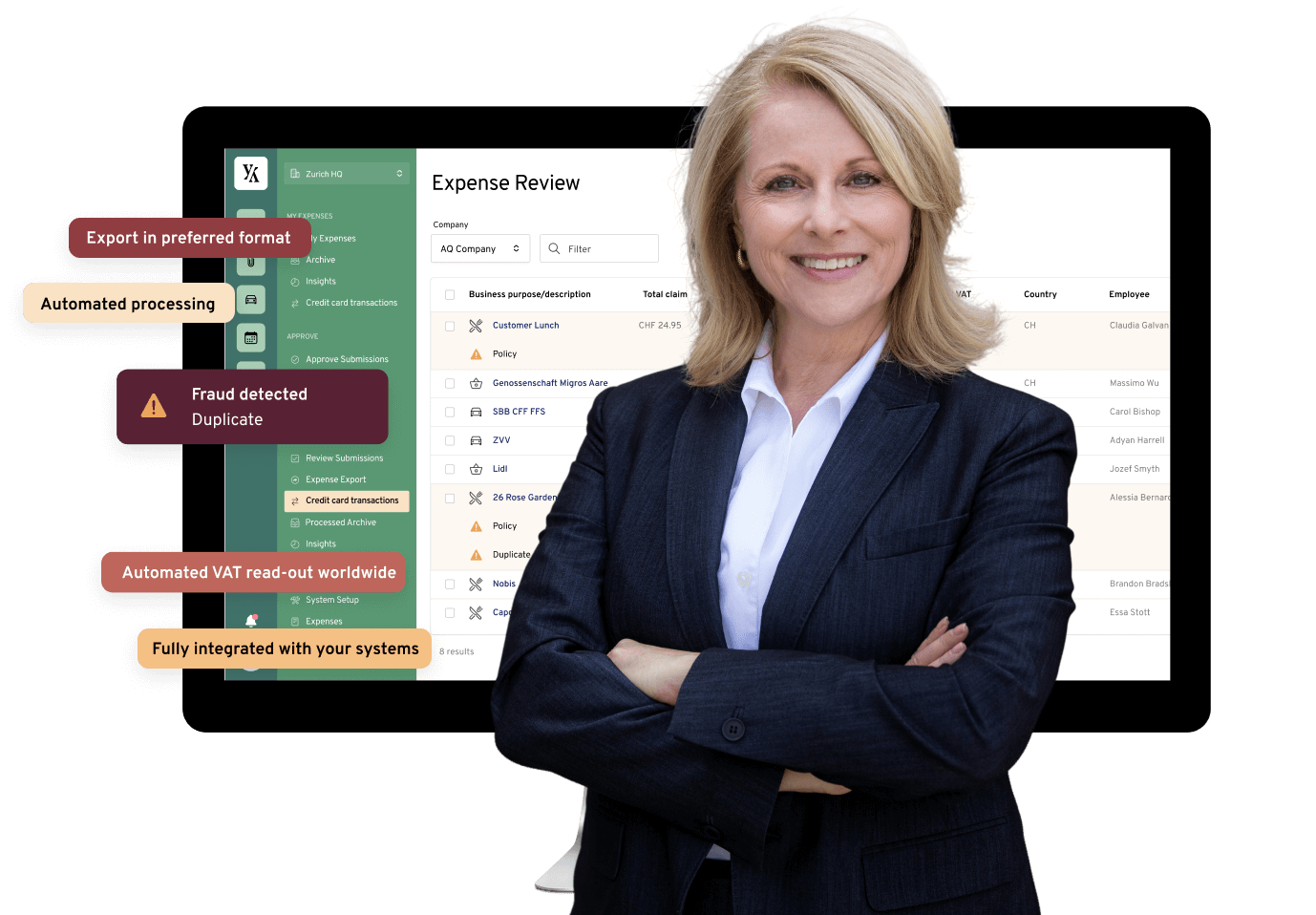A finance team member in front of Yokoy Expense tool dashboard