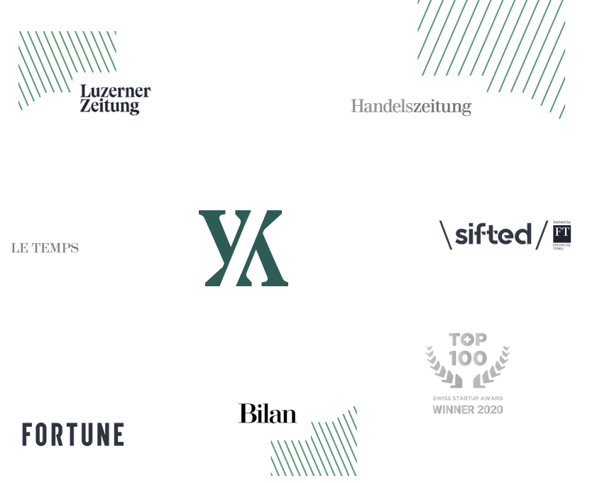 Yokoy logo is surrounded by press outlet logos such as Luzerner Zeitung, Le Temps, Fortune, Bilan, Top 100 Swiss Startup, Sifted, Handelszeitung