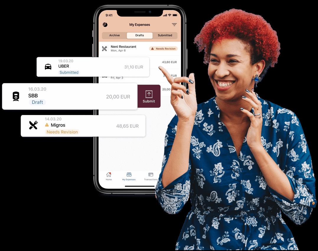 Yokoy Phone App and depiction of employee