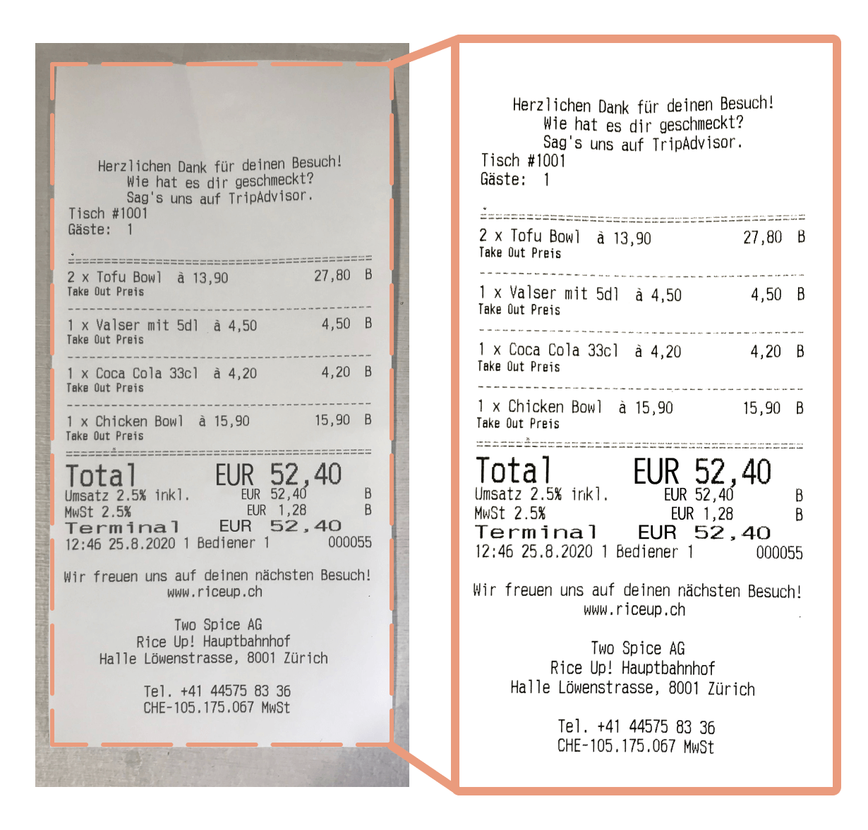 Step 1 of image processing: The receipt is scanned and recognized by AI