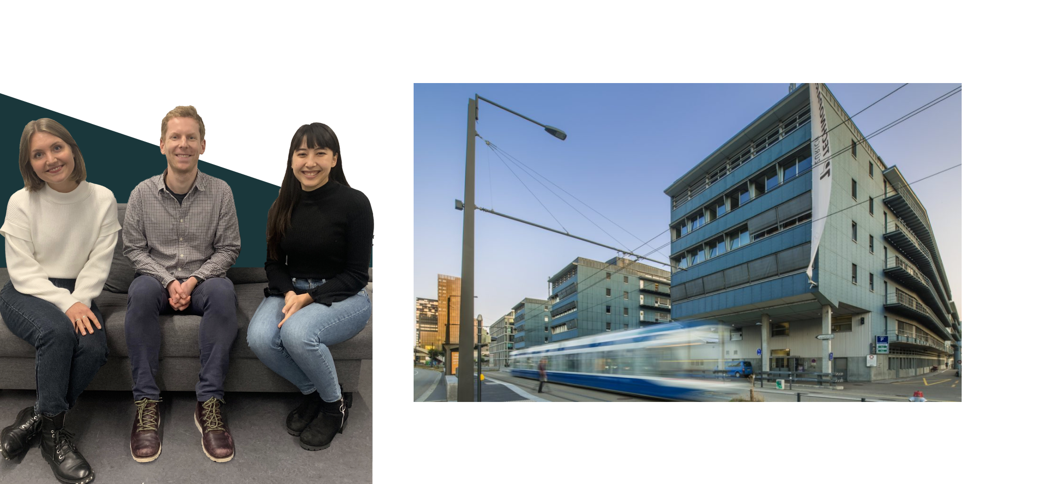 (left) An image of 3 Yokoy team members and (right) Technopark view
