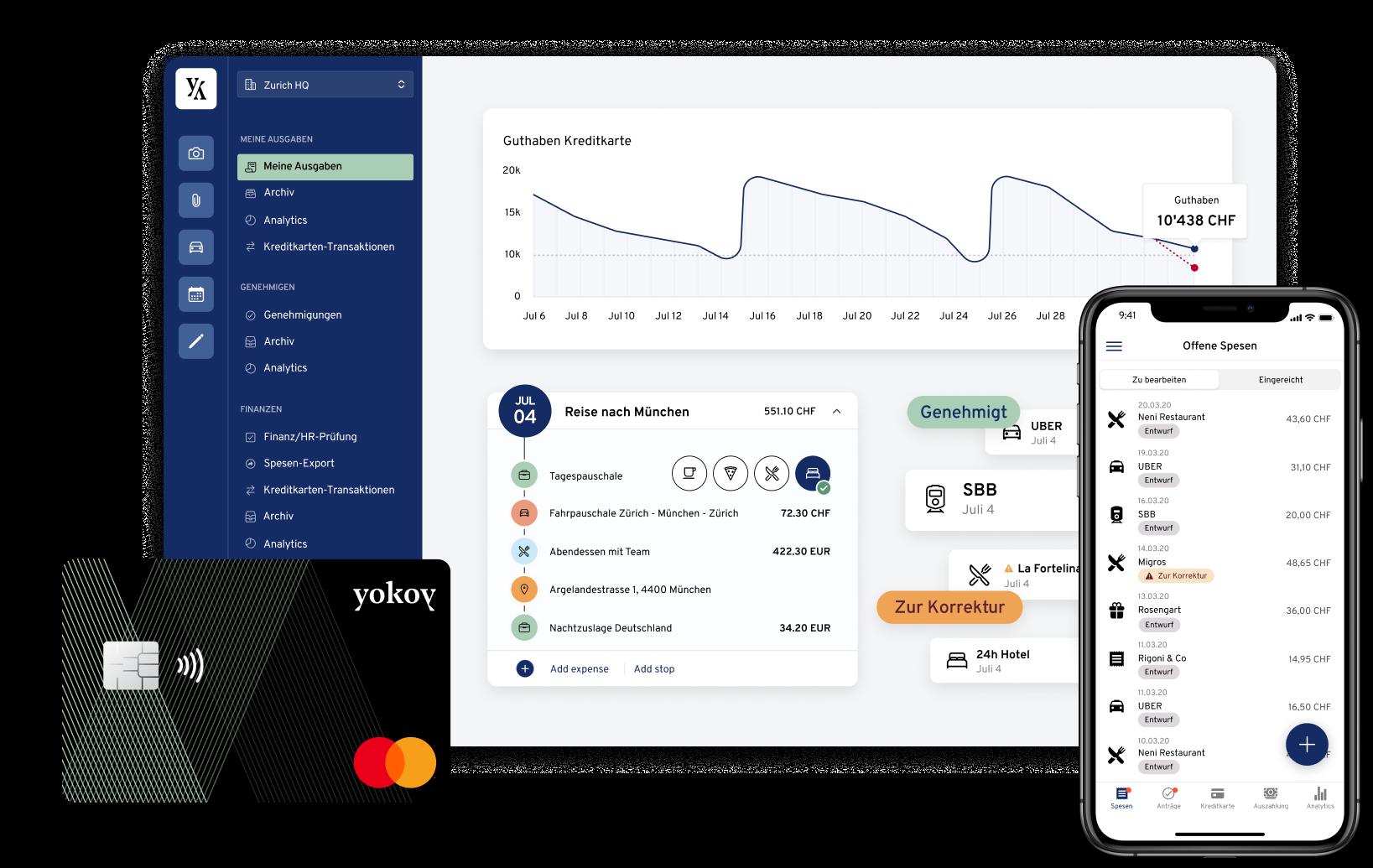 Yokoy Desktop Dashboard, Karte und Phone-Ansicht