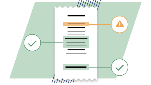 Expenses icon depicting a receipt being read through and analysed