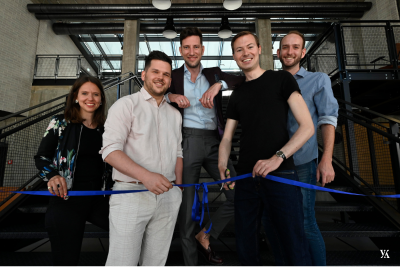 Group picture of Yokoy in Munich. From left to right: Melanie Gabriel(CMO), Ben Bauer (Country Manager Germany), Lars Mangelsdorf (CCO), Philippe Sahli (CEO) and Tobias Butzhammer (BDR).