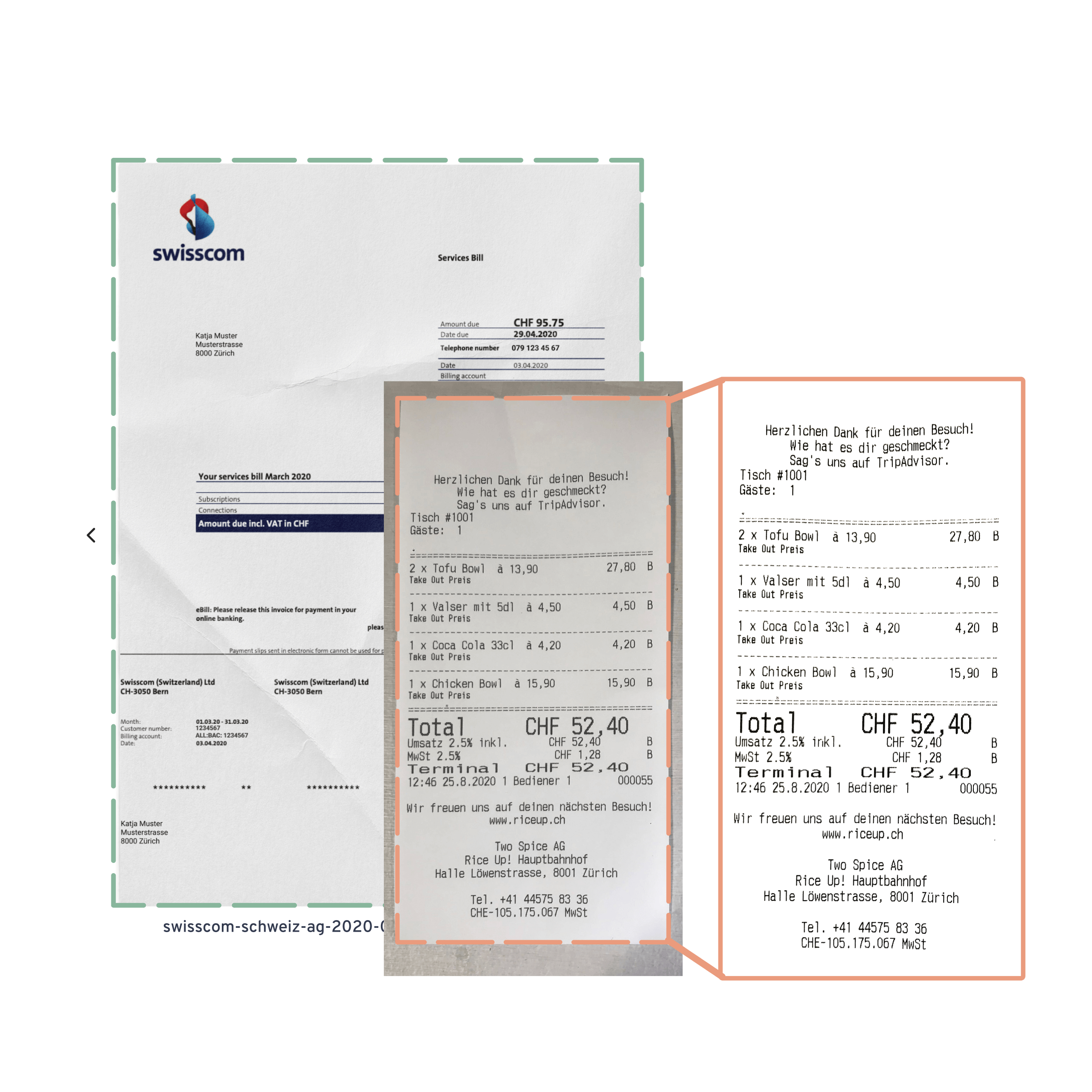 Yokoy spend management step 1: Scan and send your receipts and invoice