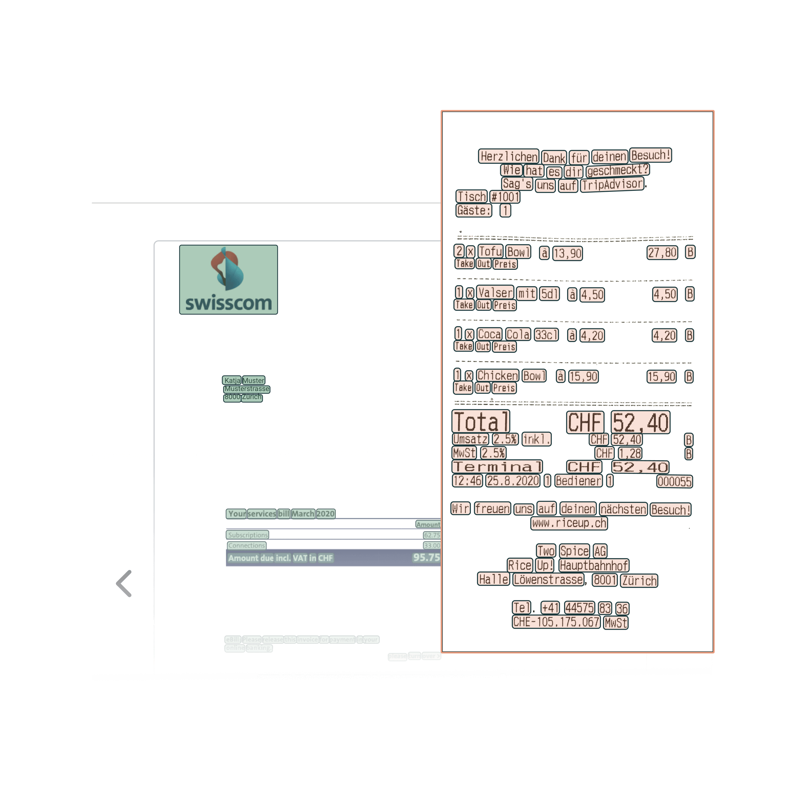 Yokoy spend management step 2: Yokoy's AI software scans and reads out the scanned invoice/receipt