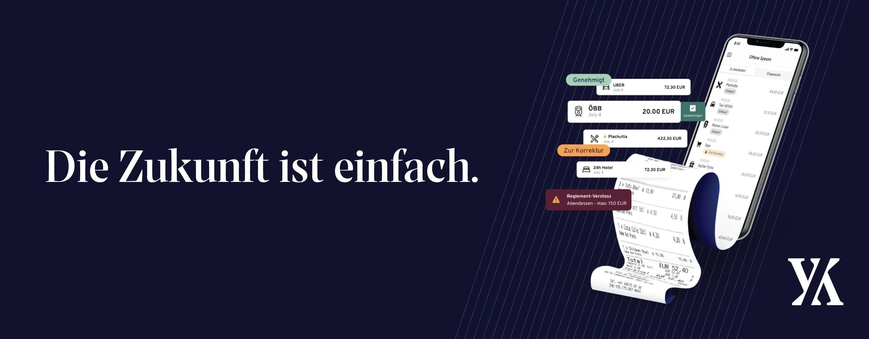 """Die Zukunft ist einfach"" slogan banner with yokoy app on a phone displayed as a receipt flows out"