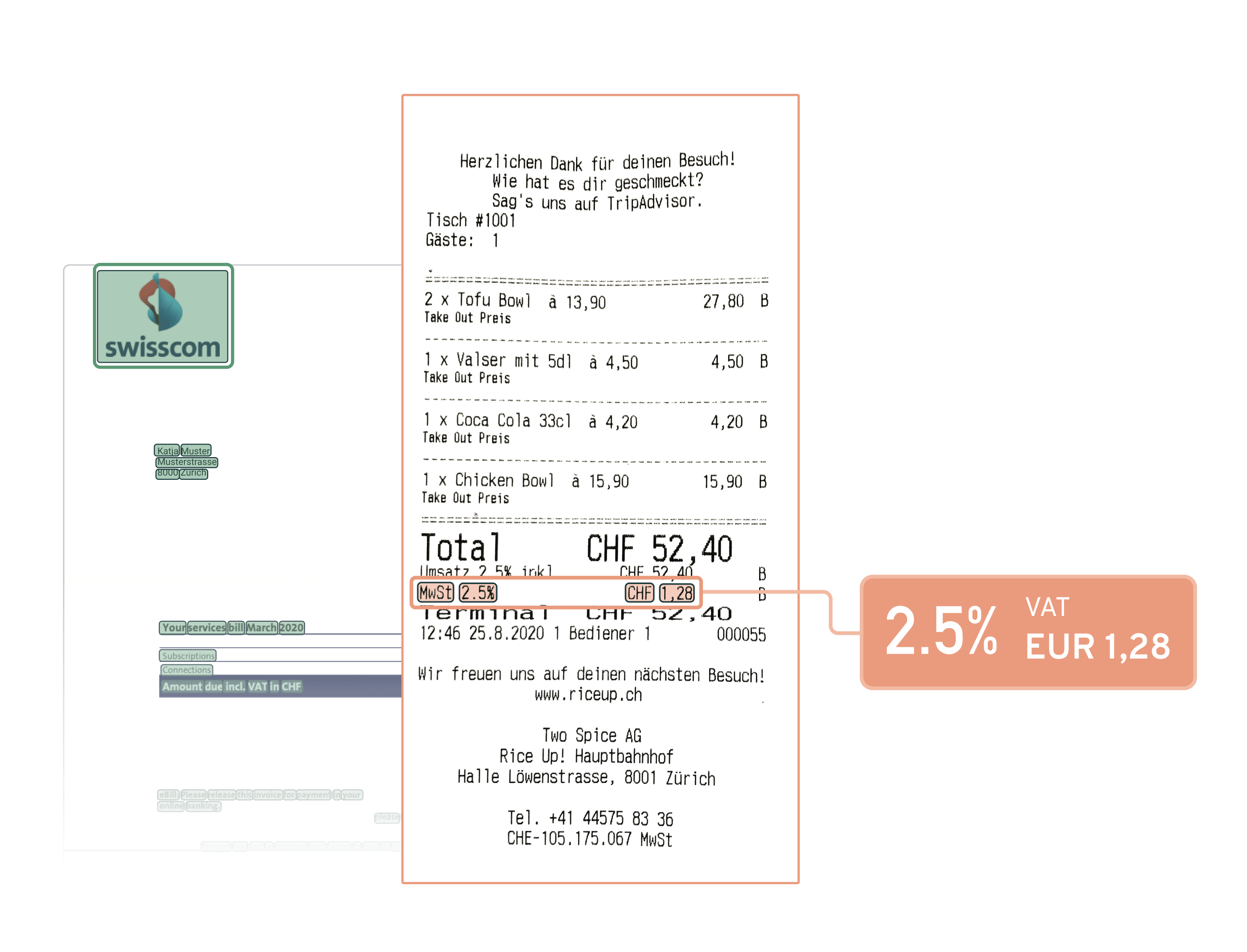 A receipt having the VAT read out, with an invoice at the background