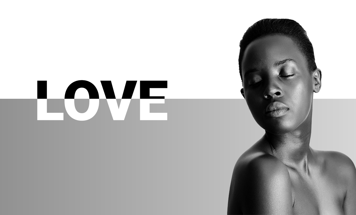 A transparent graphic with a female model and the word love.
