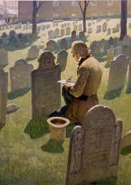 NC Wyeth's Mr. Alcott in the Granary Burying Ground in Boston