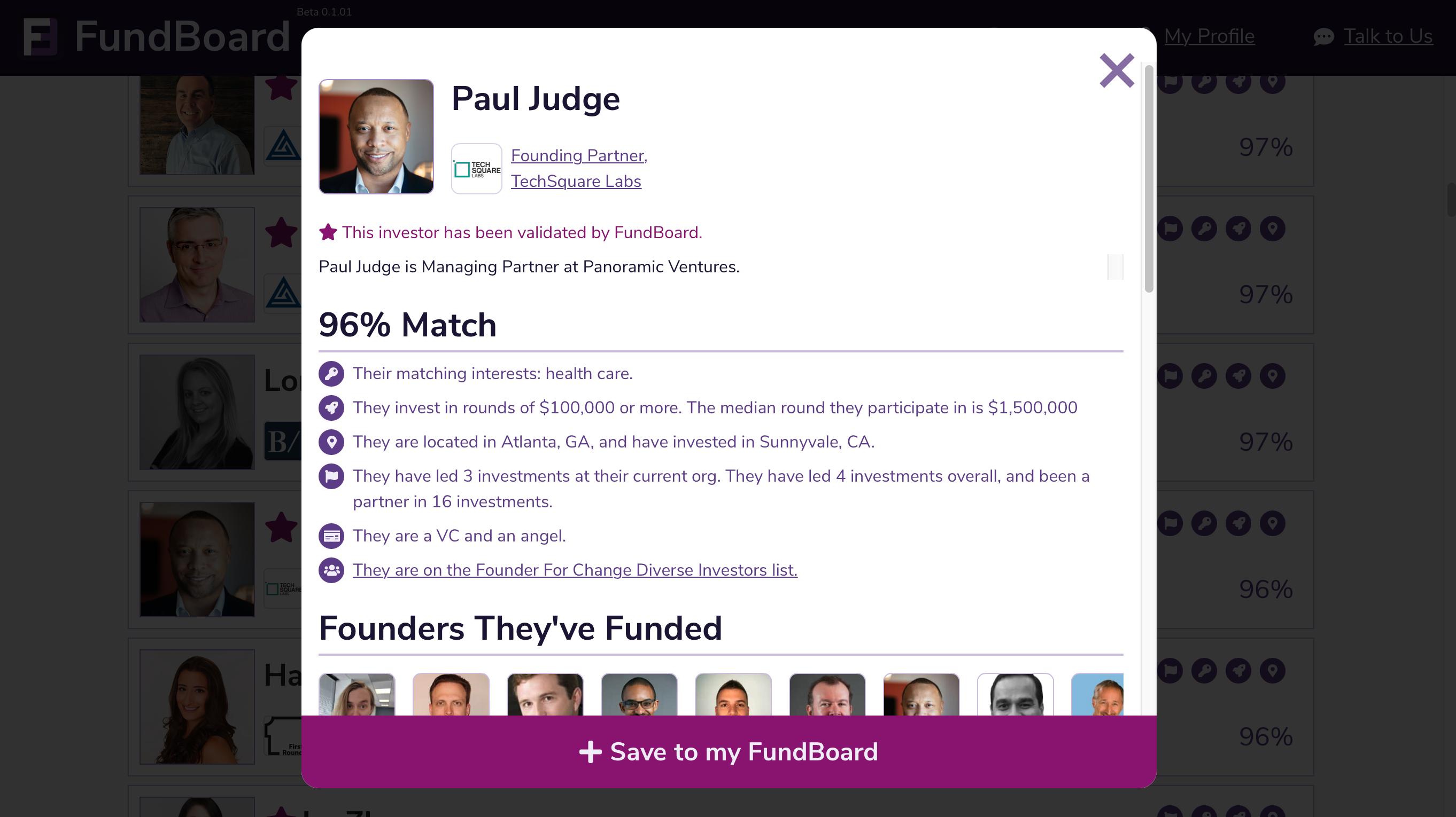 A screenshot of the FundBoard app investor data screen.