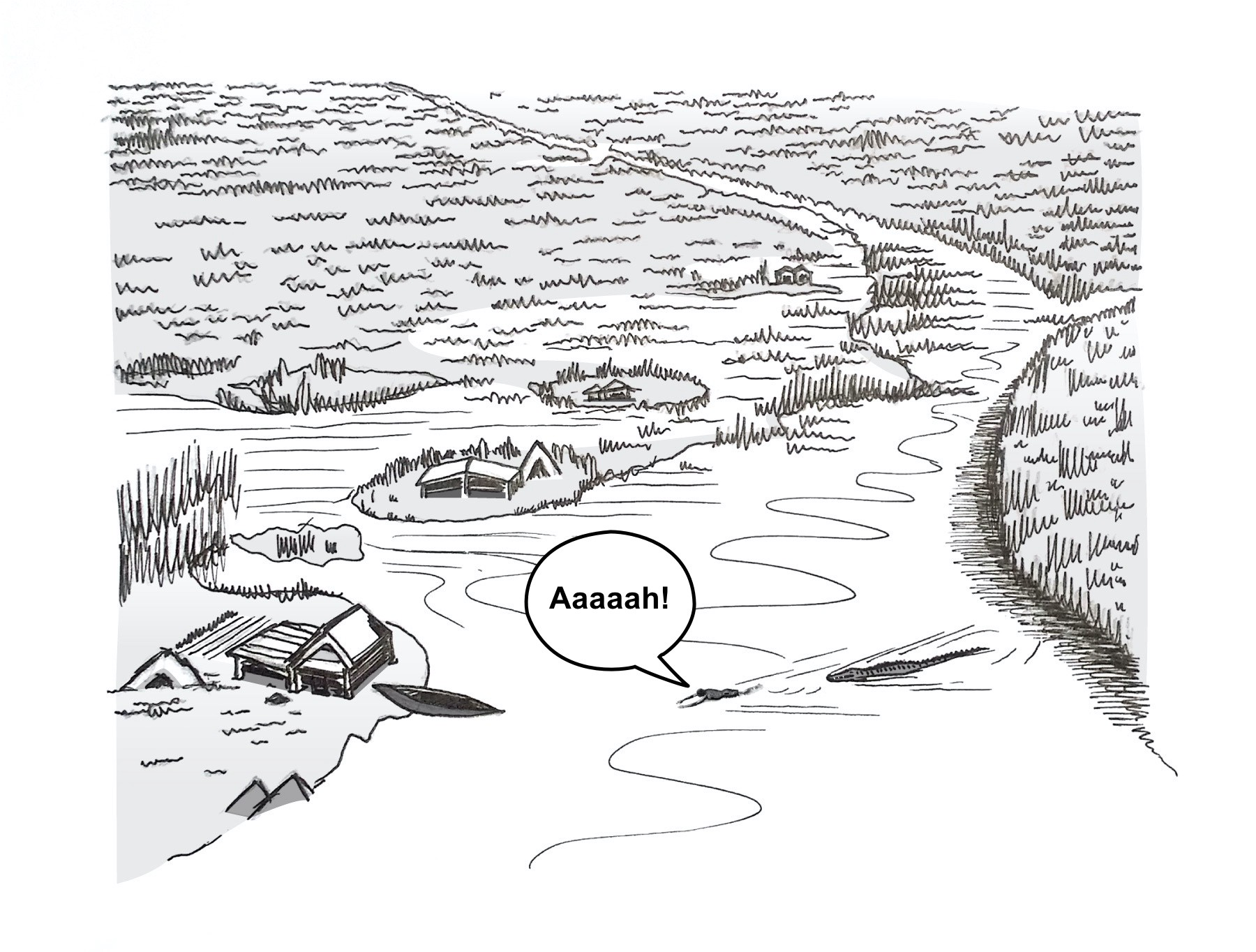 River scene with a crocodile chasing a man