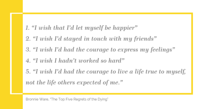 Bronnie Ware The Top Five Regrets of the Dying The Brave New Life Gisele Medeiros