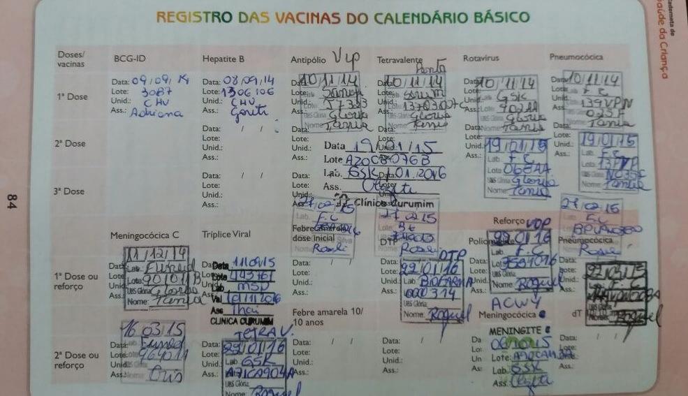 Carteirinha de vacinação brasileira