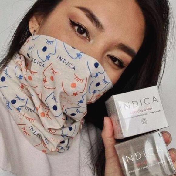 Bandana gift on pretty girl. Skin care