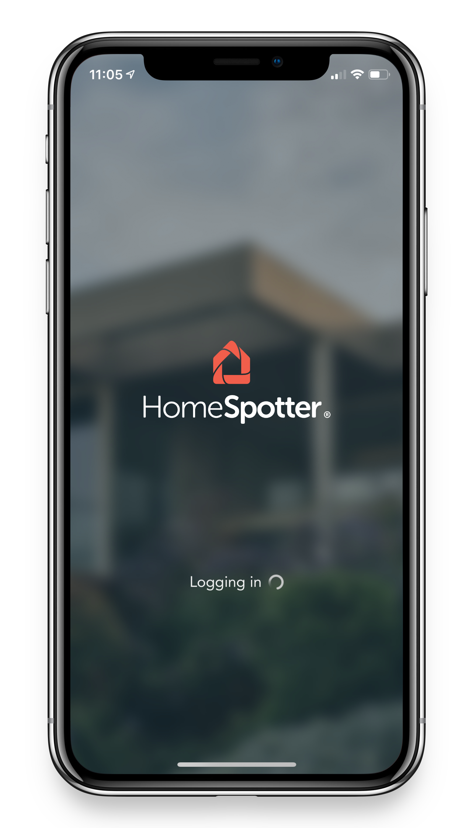 The loading screen of the Homespotter application, shown on an iPhone.