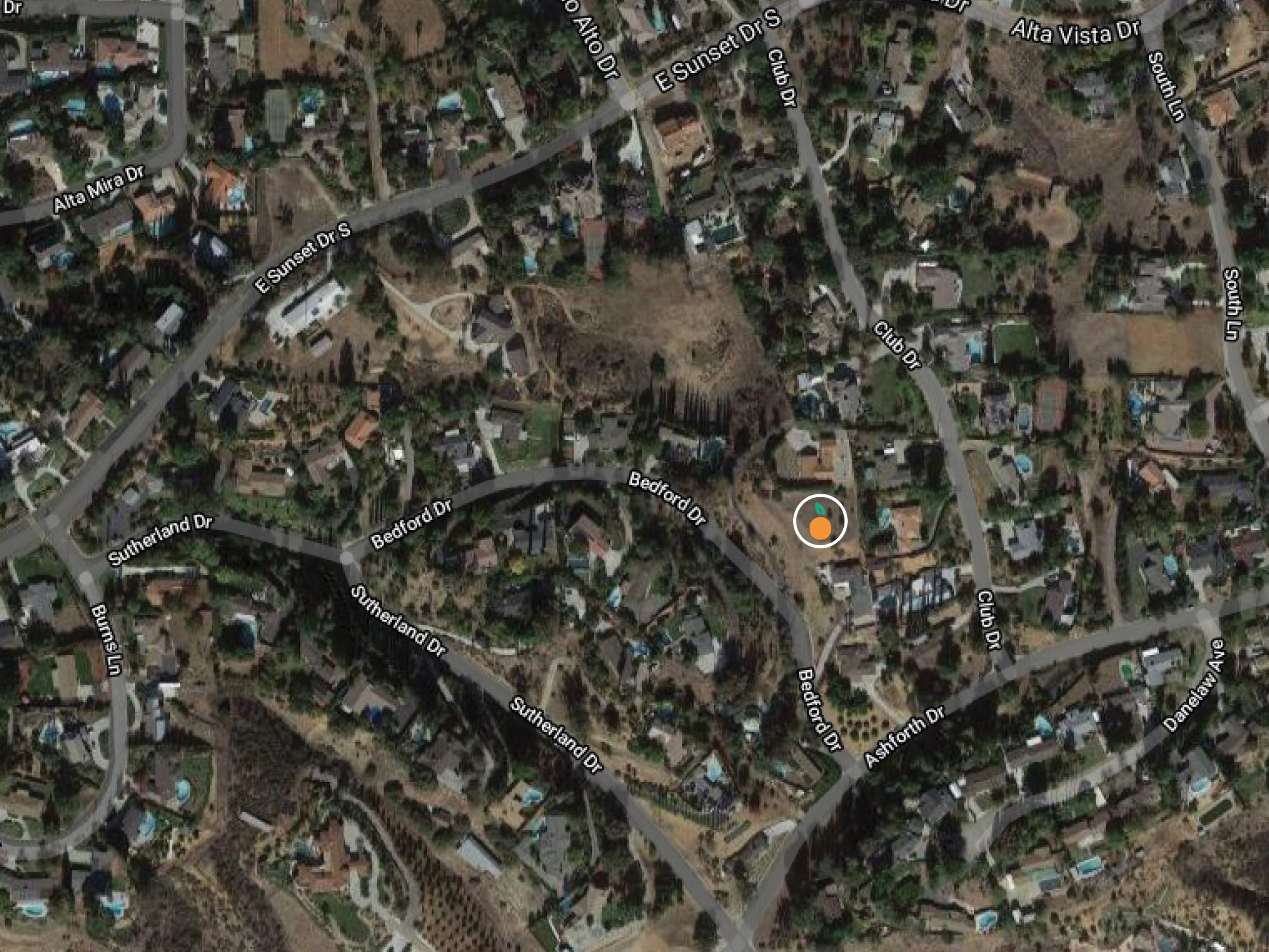 A thumbnail of the screenshot taken from Google Maps. It is marked with an orange icon (same icon from the About Redlands Realty logo), where 0 Bedford Dr., Redlands, CA 92373 is found.