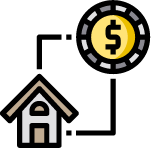 An illustration of a coin (representative of money in general) that cycles to a house, then back to the coin. For About Redlands Realty, this shows that we offer buyer/seller representation and the ability to approve you for financing. We have an in-house broker that can shop multiple financing options for you, saving you time and effort.
