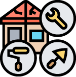 An illustration of a house with 3 commons tools around it - a wrench, paint roller, and cement spreader. For us, this signifies that our agency has the network of professionals that can help you with any changes you need/want done to your property.