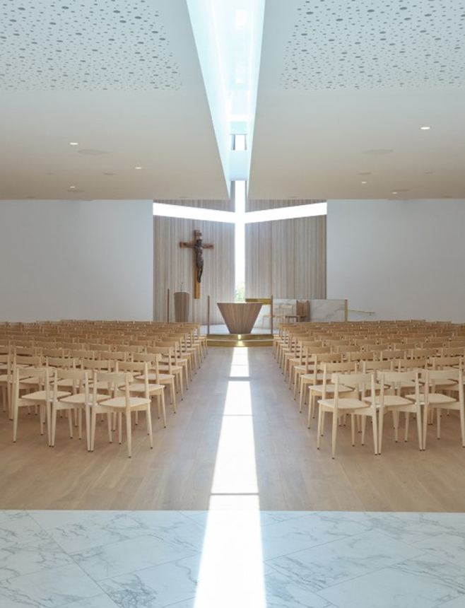 Ercol Lara Chairs at The Chapel of St. Peter by Stephens Lawson Architects