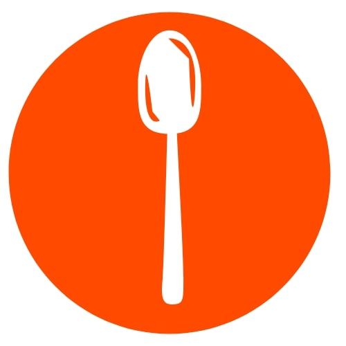 Orange circle with a whitish silver spoon in the center
