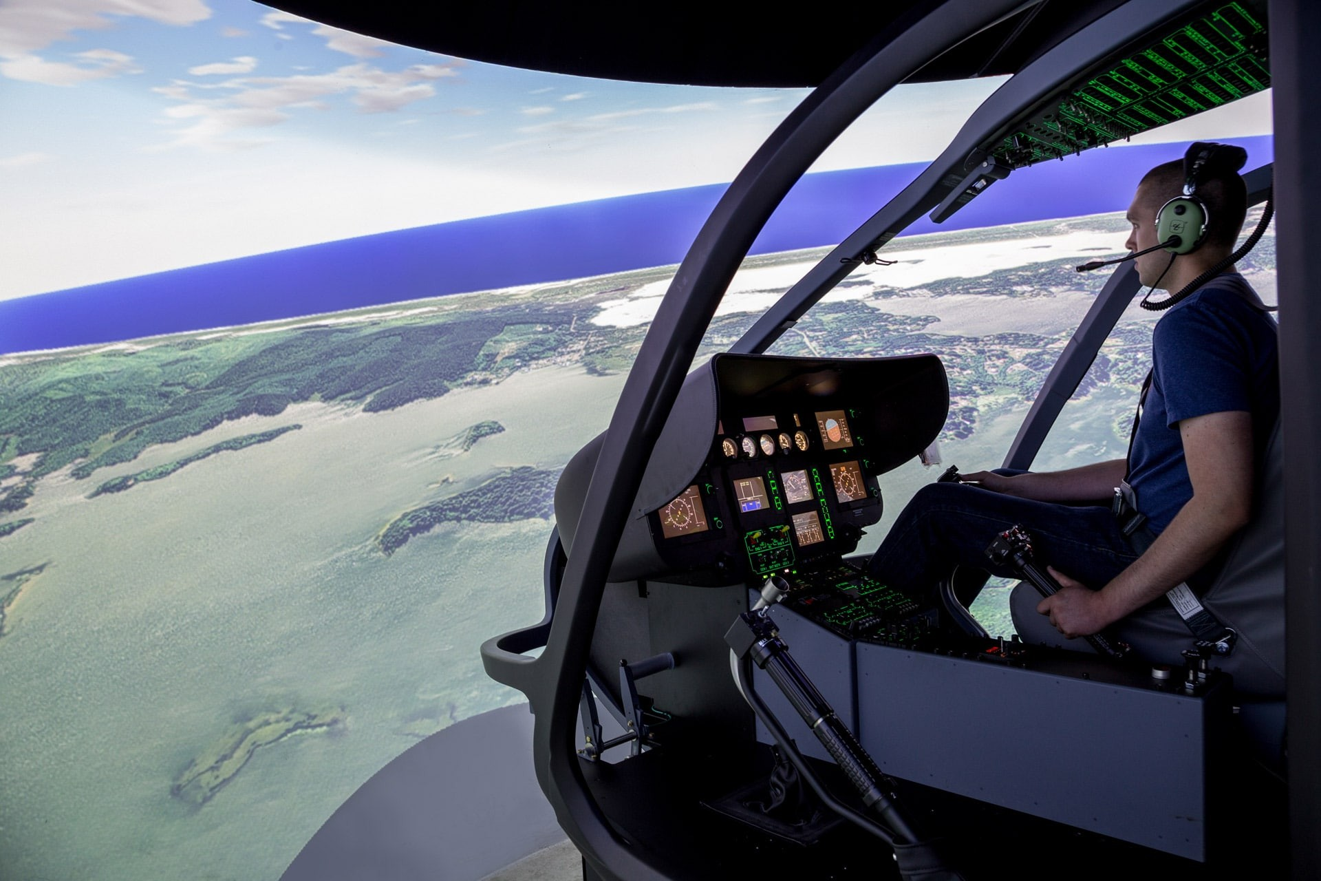 A fixed helicopter simulator