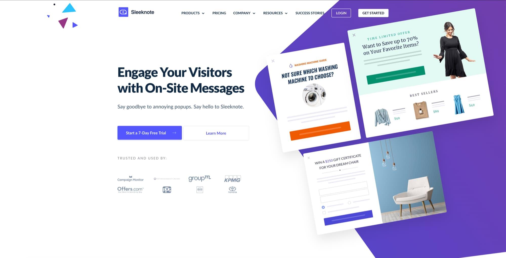 sleeknote website popup service