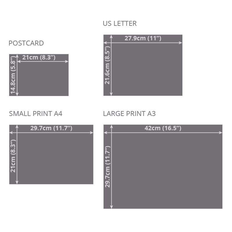 "Print sizes illustration:  Postcard A5 14.8 x 21 cm (5.8"" x 8.3"") US Letter 21.6 x 27.9 cm (8.5"" x 11"") Small Print A4 21 x 29.7 cm (8.3"" x 11.7"") Large Print A3 29.7 x 42 cm (11.7"" x 16.5"")"