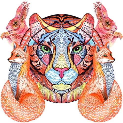 Wild animals category: tiger, foxes, squirrels