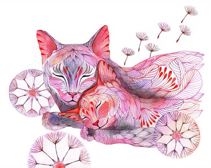 Sleepy Dandelion (Cat Family) Art Print