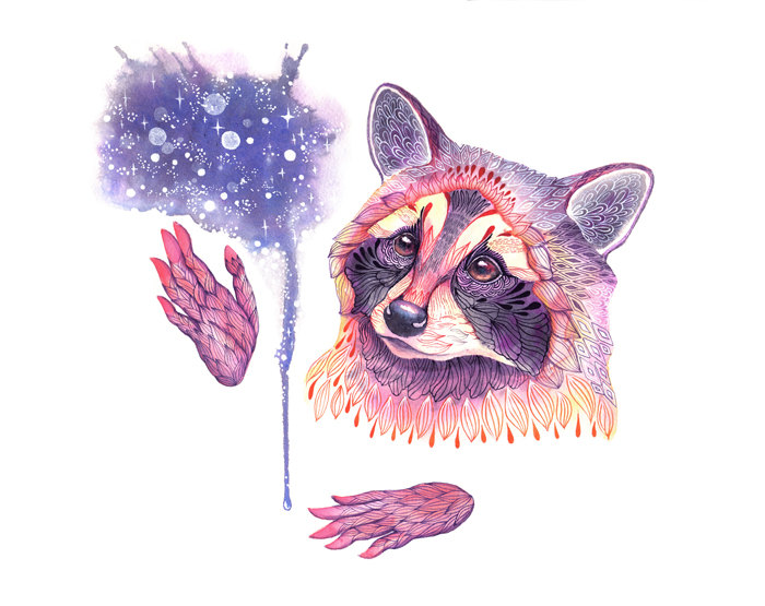 Space Raccoon Art Print