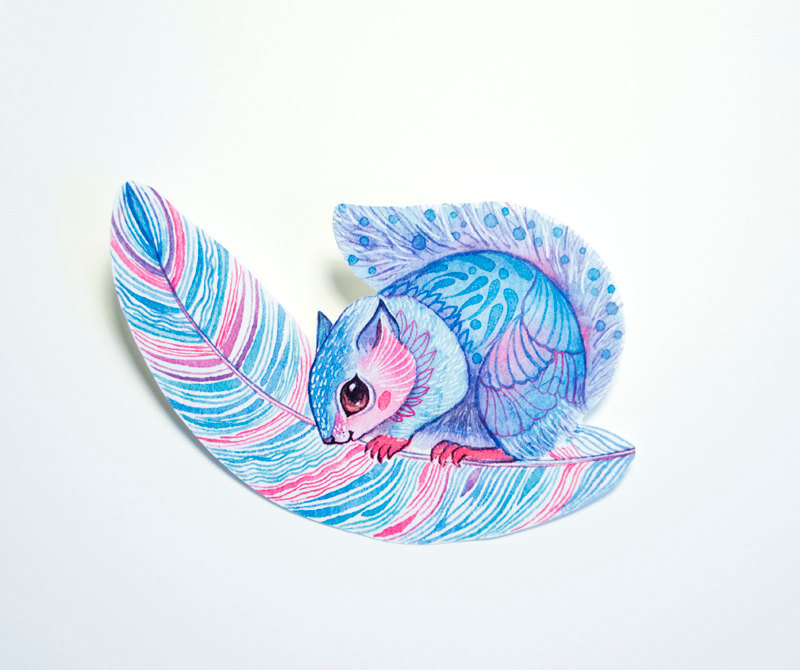 Feather Squirrel Sticker