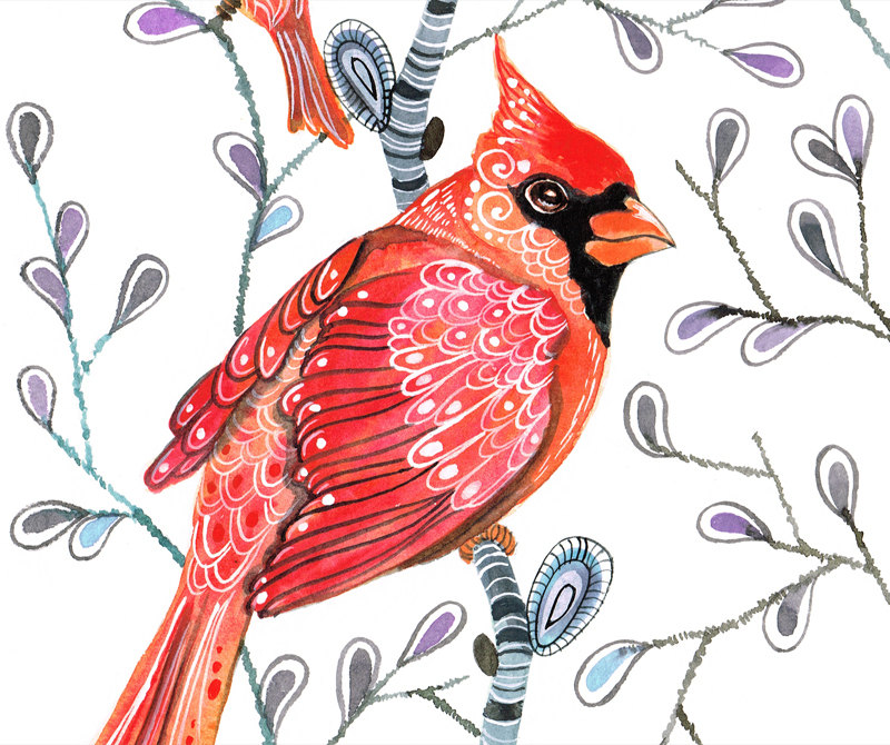 Cardinals On Branches Art Print