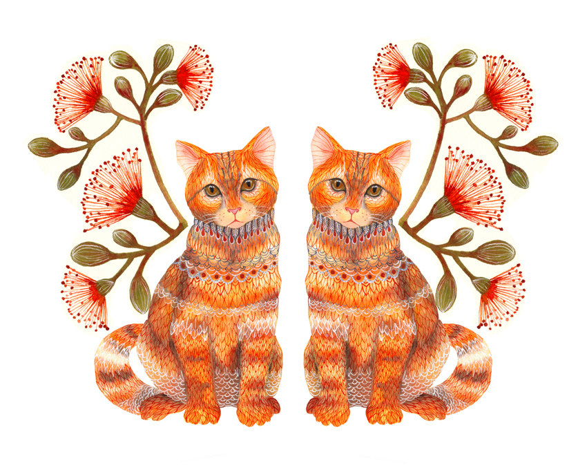 """Lacy Twins"" Cats Couple Art Print"