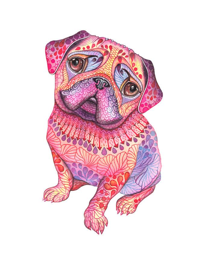 "Pug Art Print ""Pugberry"""