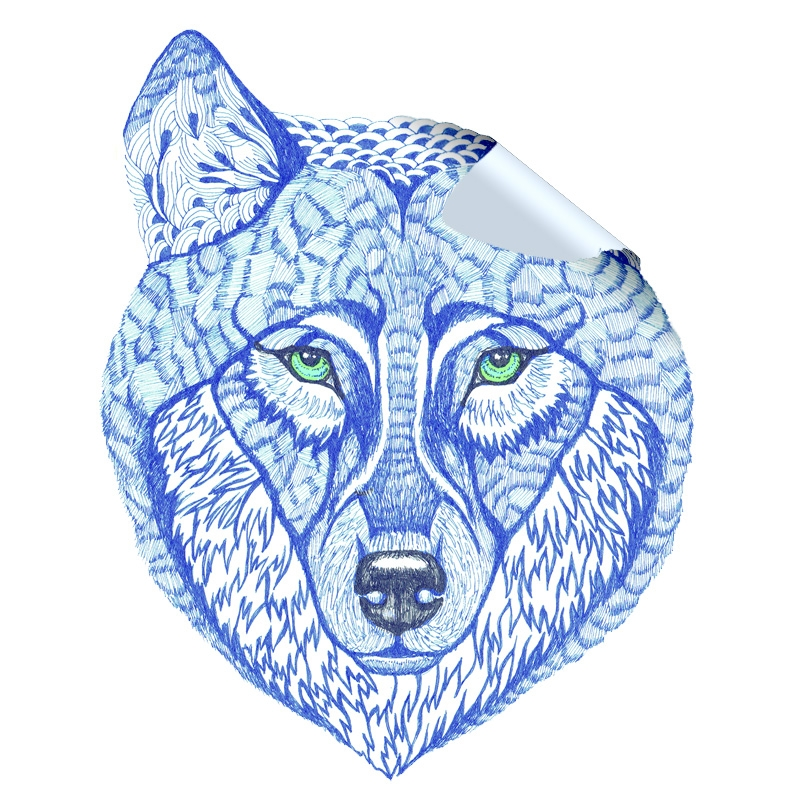 Blue Wolf Face Sticker