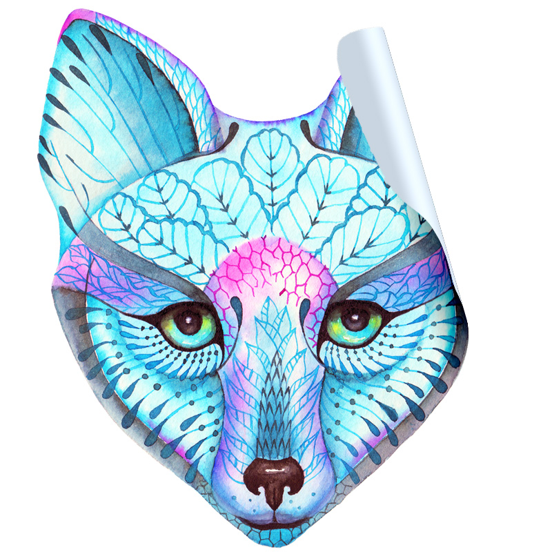 Blue Fox Face Sticker