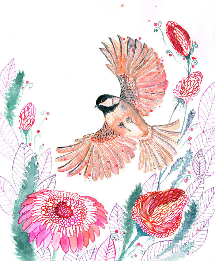 """Chickadee Bird"" Art Print"
