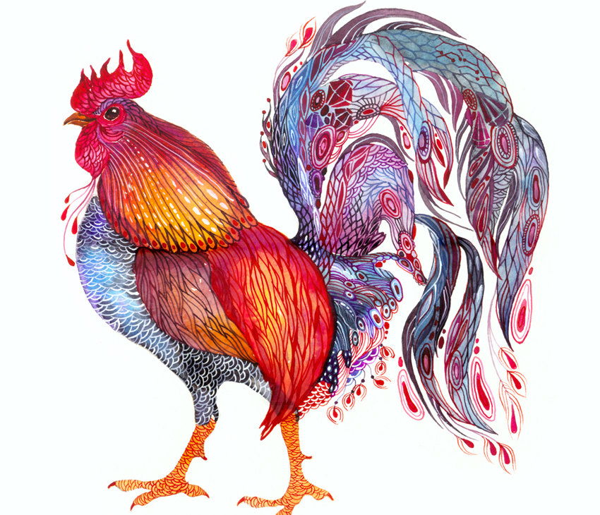 """Feather Jewelry"" Rooster Art Print"