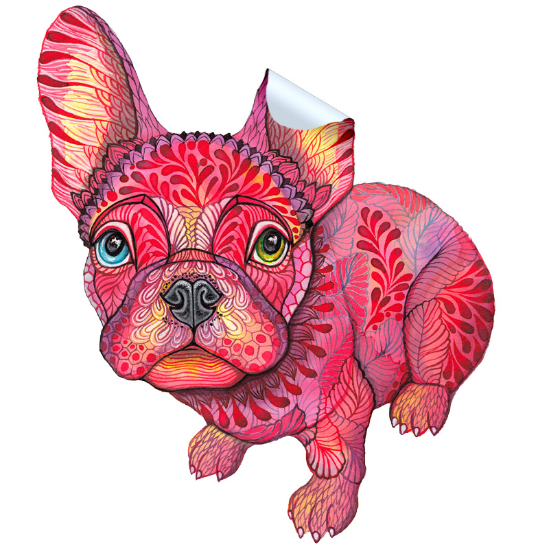 Raspberry Frenchie Sticker