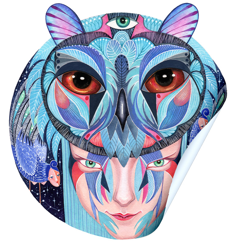 """Blue Milk"" Owl Girl Sticker"
