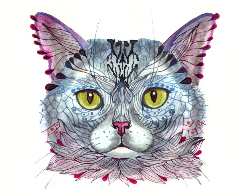 Blue Cat Face Art Print