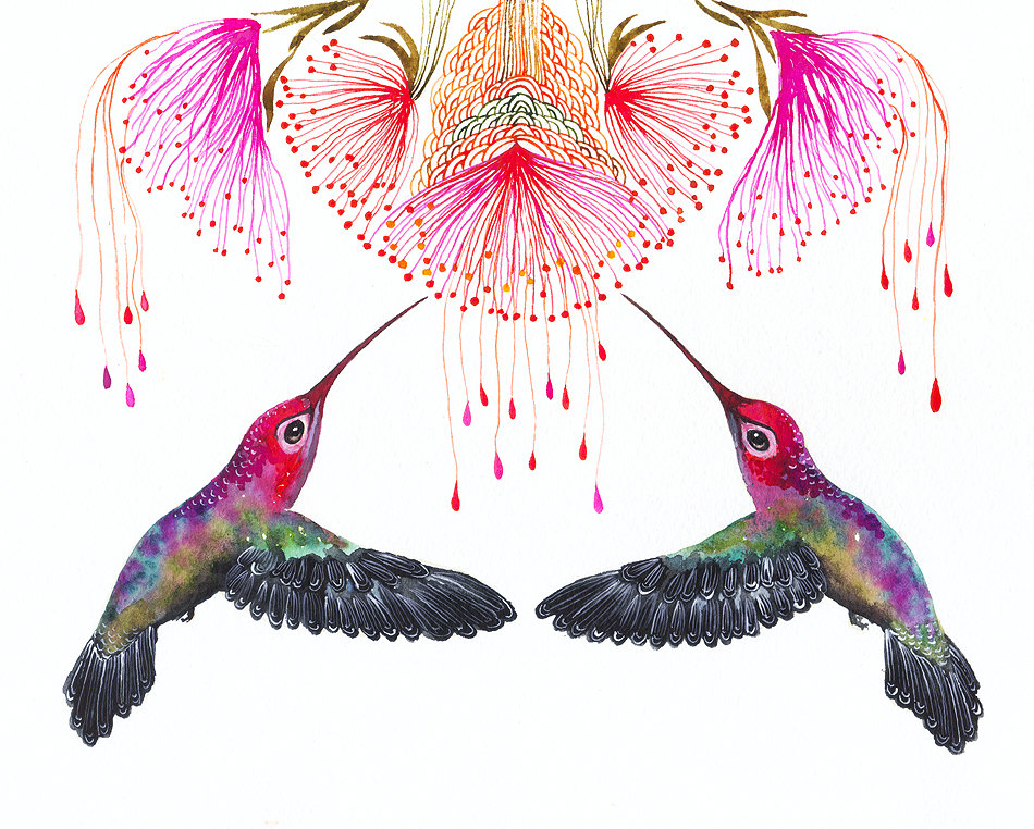 Hummingbirds and a Flower Art Print