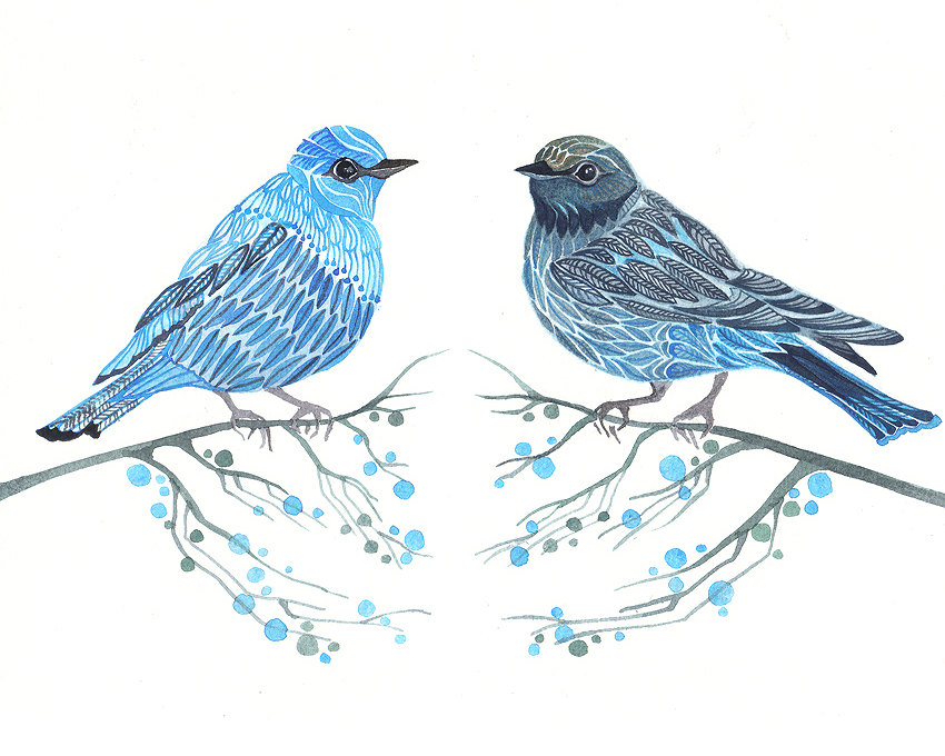 Blue Birds Couple Art Print