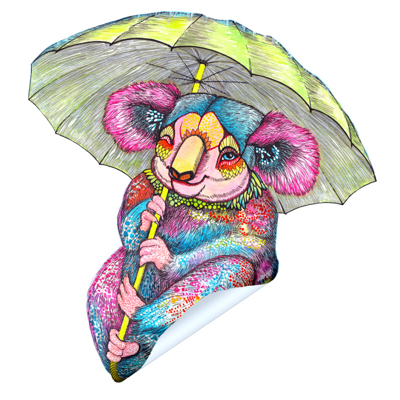 Koala With Umbrella Sticker