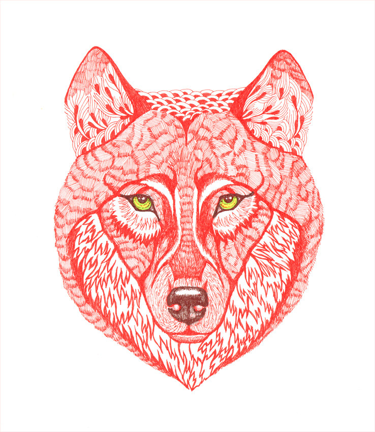 Ola's Red Wolf Art Print