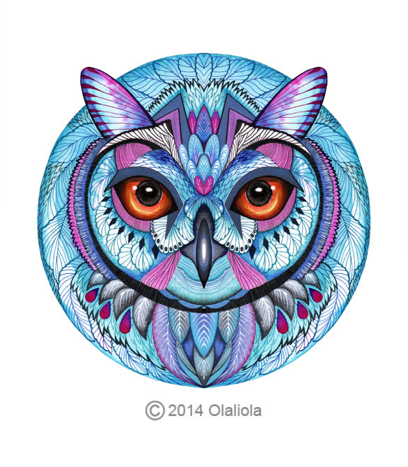 Blue Owl Winter Owl Art Print