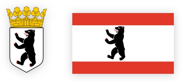 Coat of arms and flag Berlin emblems with bear.