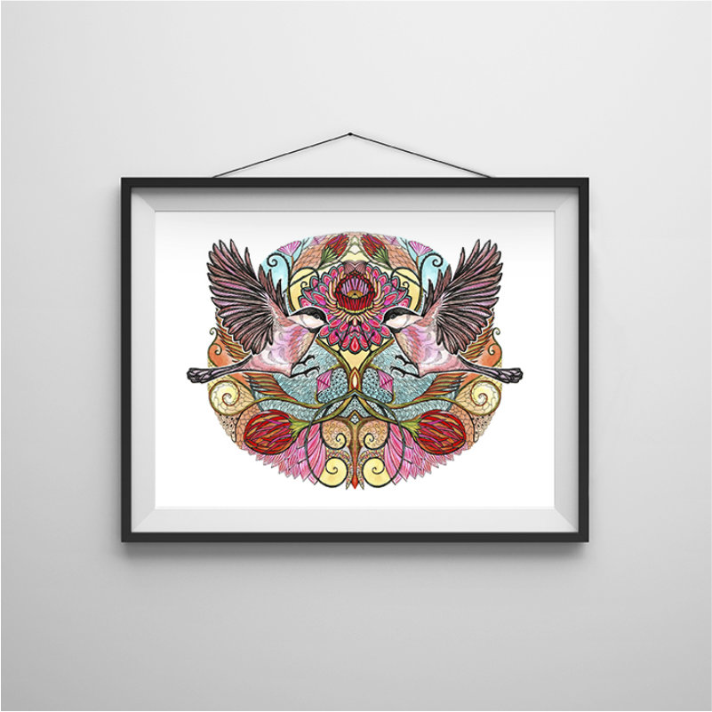 Chickadee love art print in frame